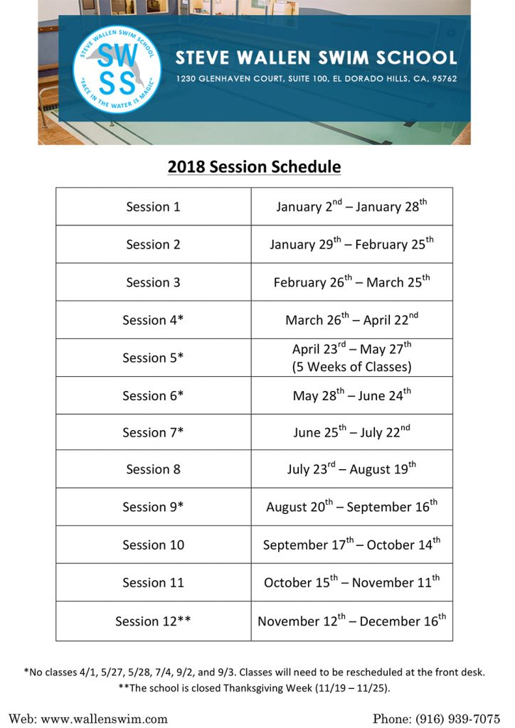Swimming Lesson Season Schedule Wallen Swim Swimming Lessons Programs In El Dorado Hills